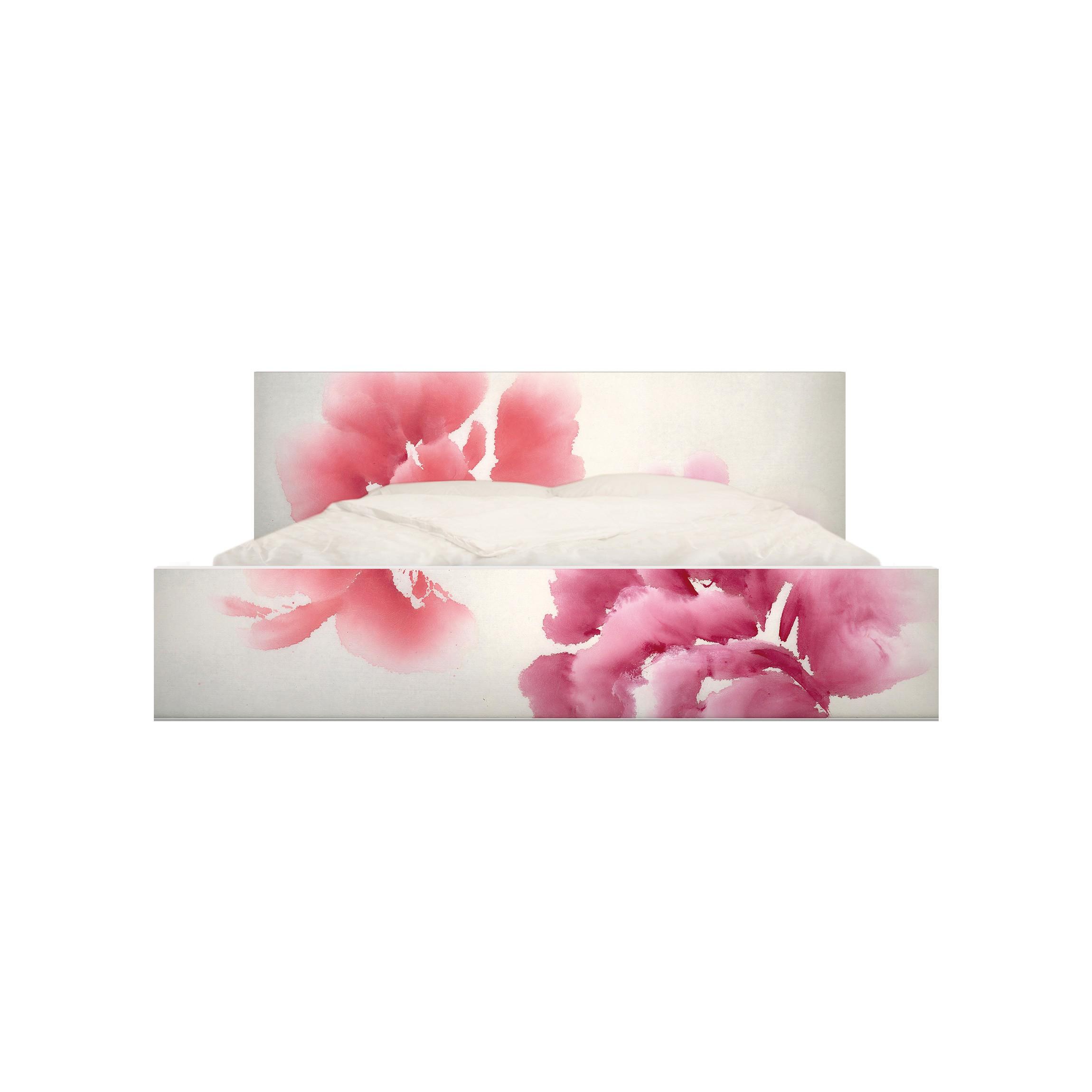 m belfolie f r ikea malm bett niedrig 140x200cm klebefolie k nstlerische flora ii. Black Bedroom Furniture Sets. Home Design Ideas