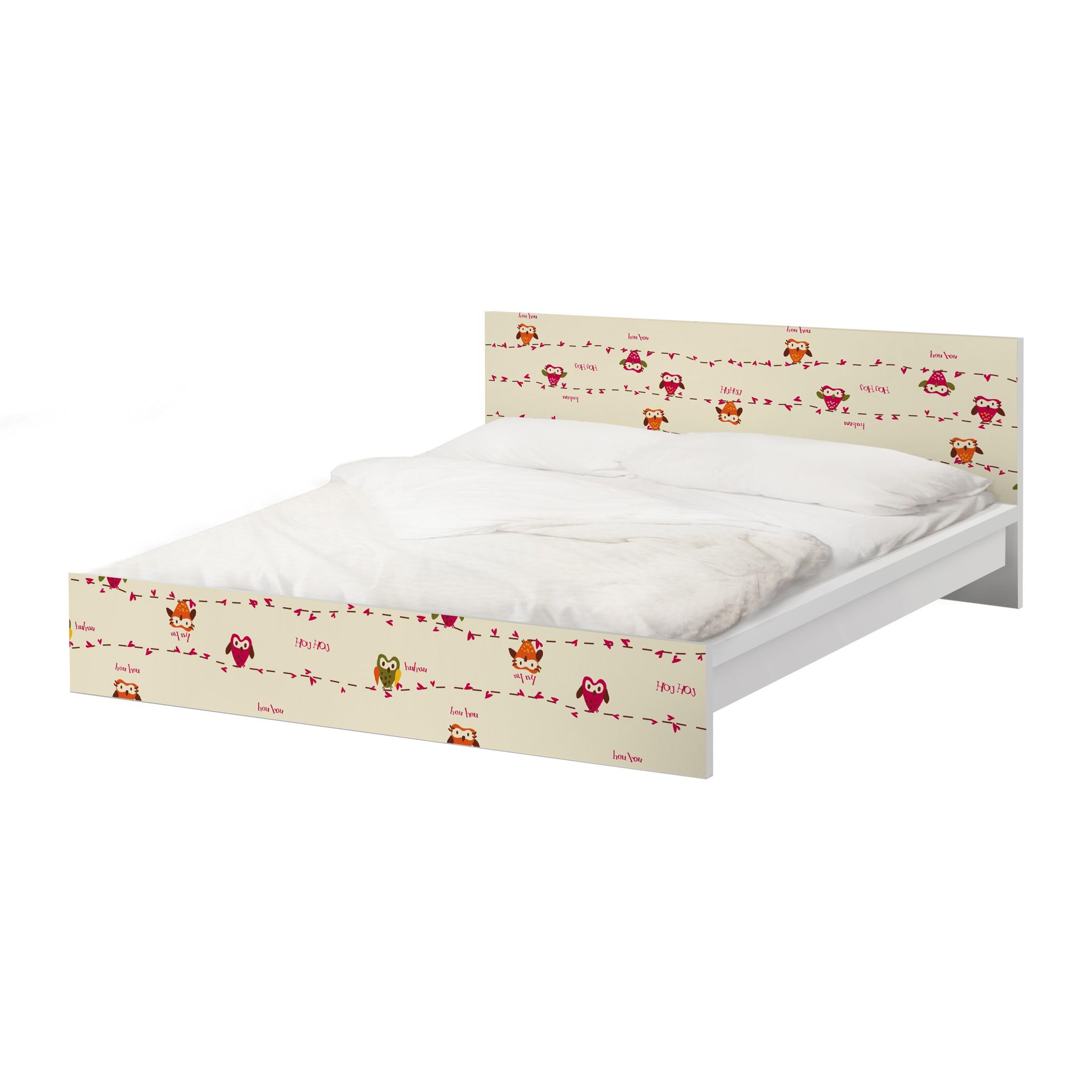 m belfolie f r ikea malm bett niedrig 140x200cm klebefolie owl howl. Black Bedroom Furniture Sets. Home Design Ideas