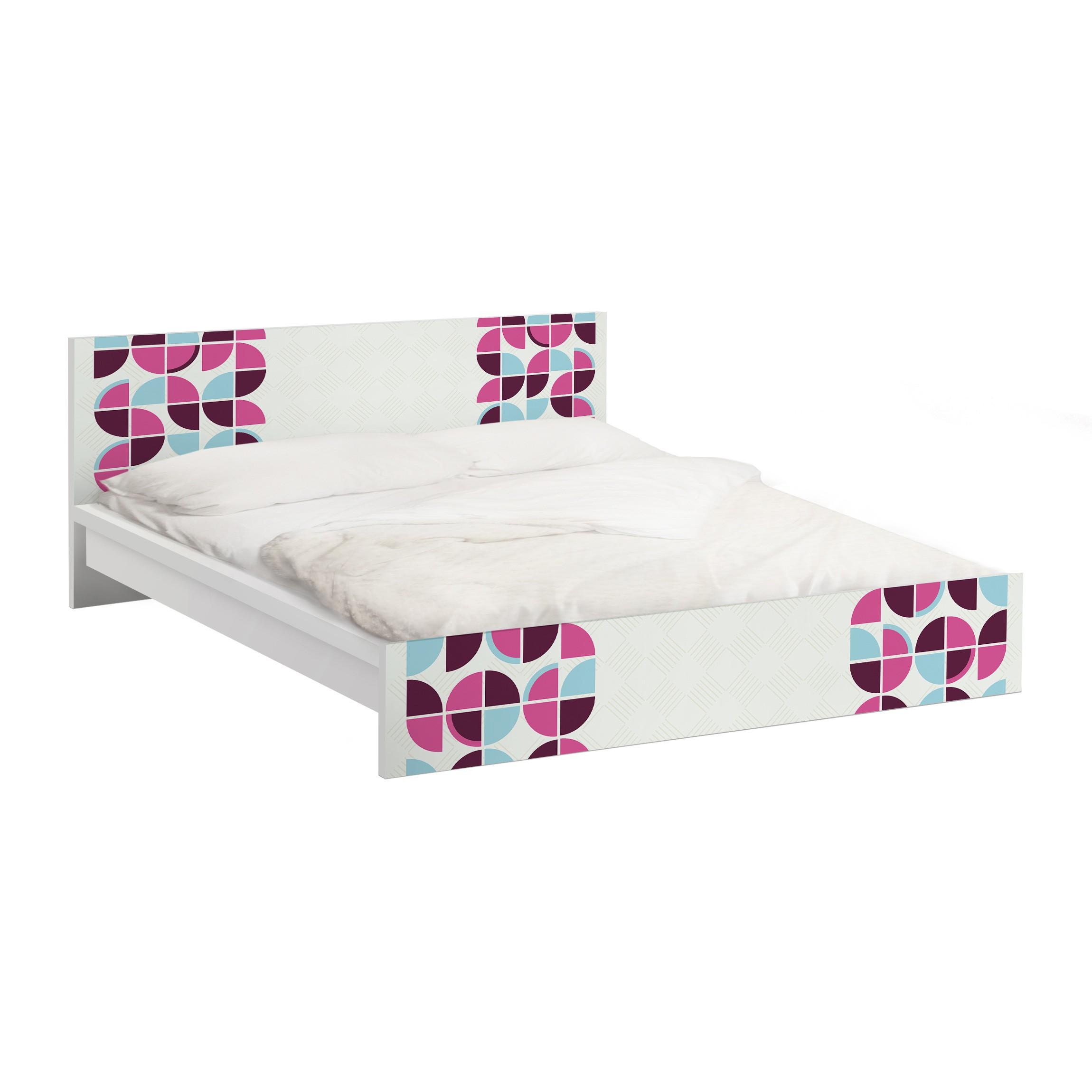 Carta adesiva per mobili ikea malm letto basso 140x200cm a retro circles pattern design - Mobili letto ikea ...