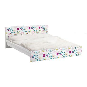 Produktfoto Möbelfolie für IKEA Malm Bett niedrig 160x200cm - Klebefolie Blumencocktail