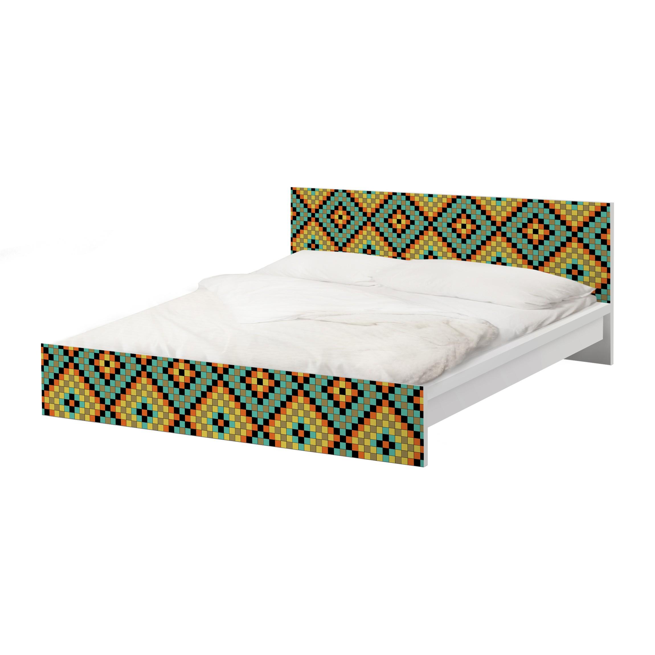 m belfolie f r ikea malm bett niedrig 160x200cm klebefolie buntes mosaik. Black Bedroom Furniture Sets. Home Design Ideas