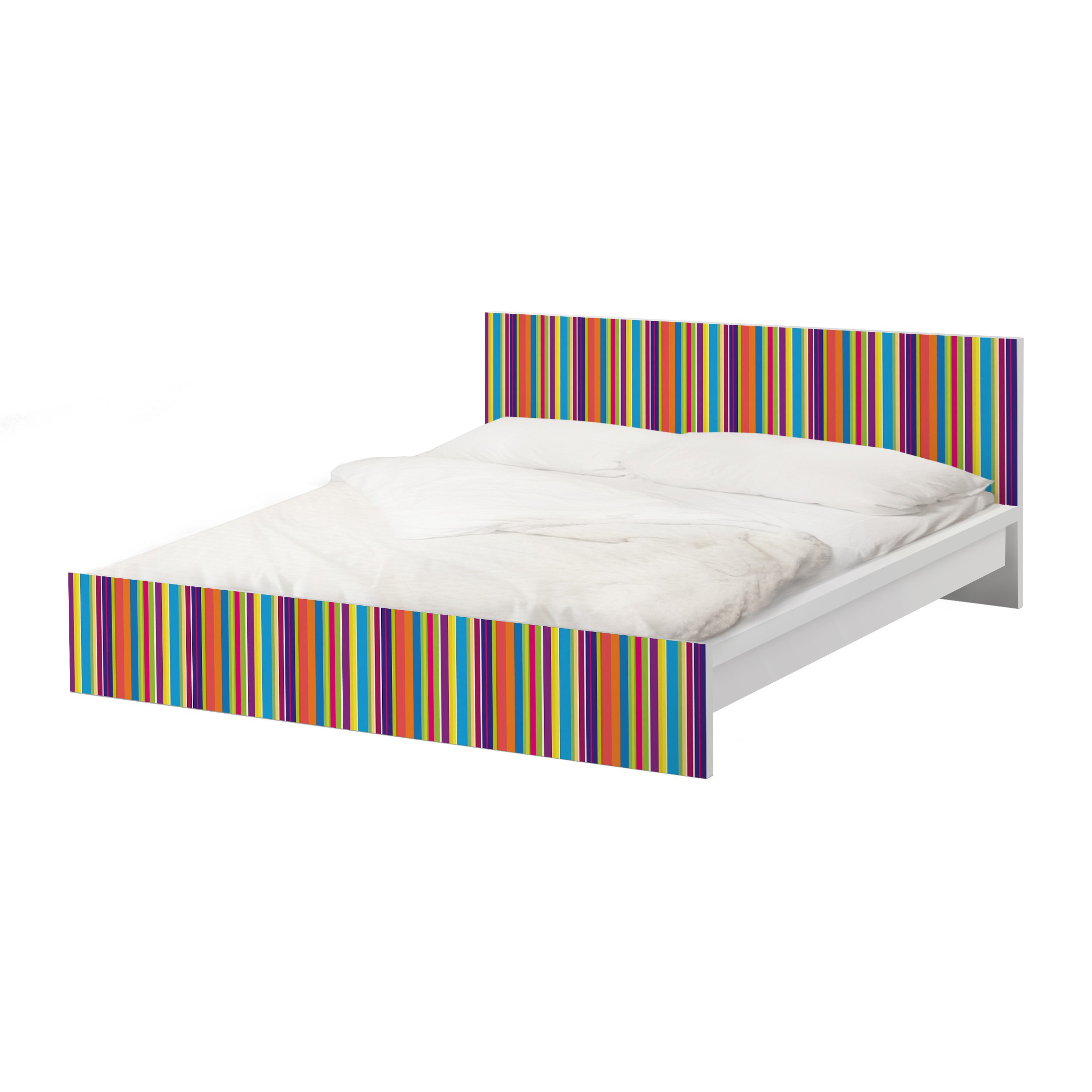 Carta adesiva per mobili ikea malm letto basso 160x200cm happy stripes - Mobili letto ikea ...