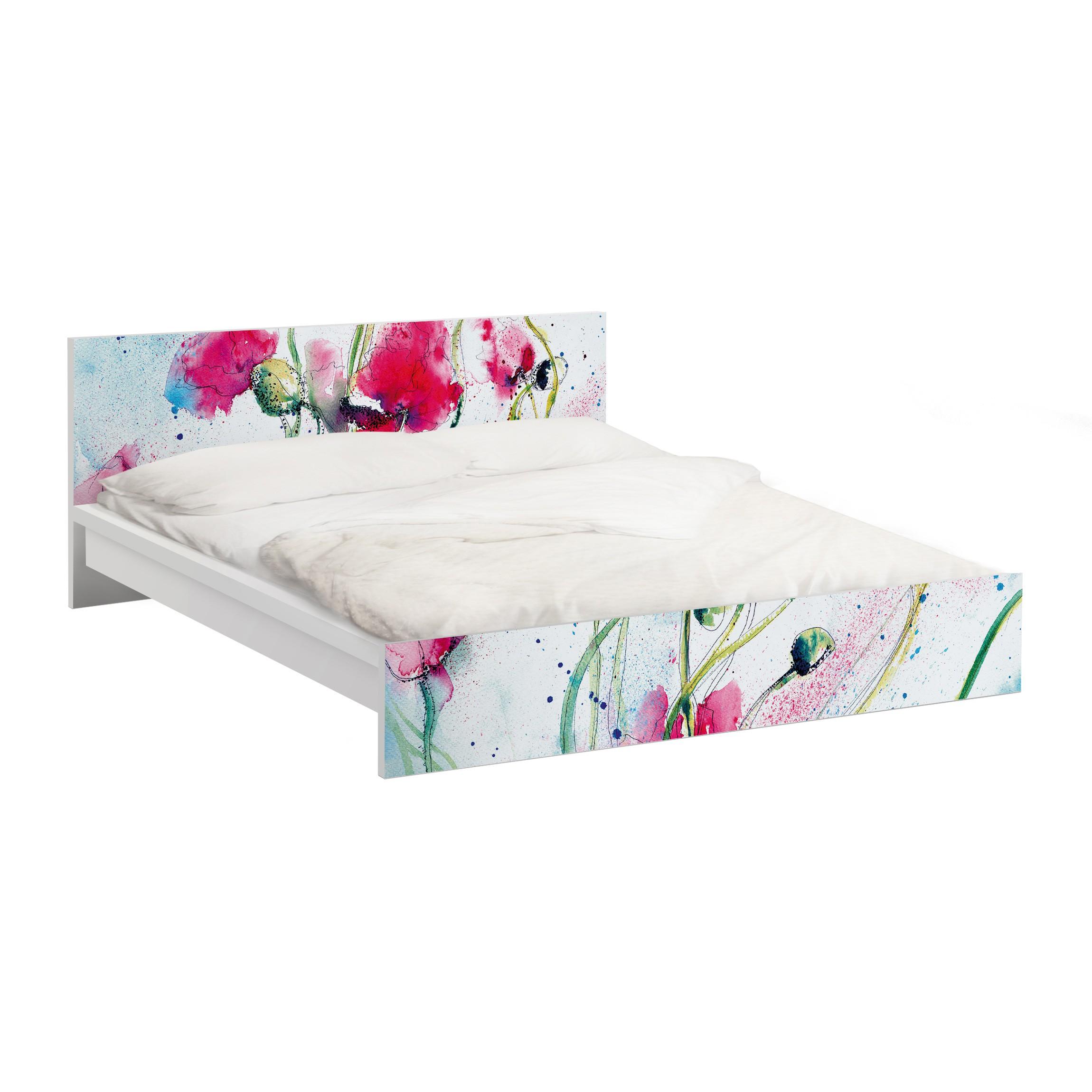 Carta adesiva per mobili ikea malm letto basso 160x200cm painted poppies - Pellicola adesiva per mobili ikea ...