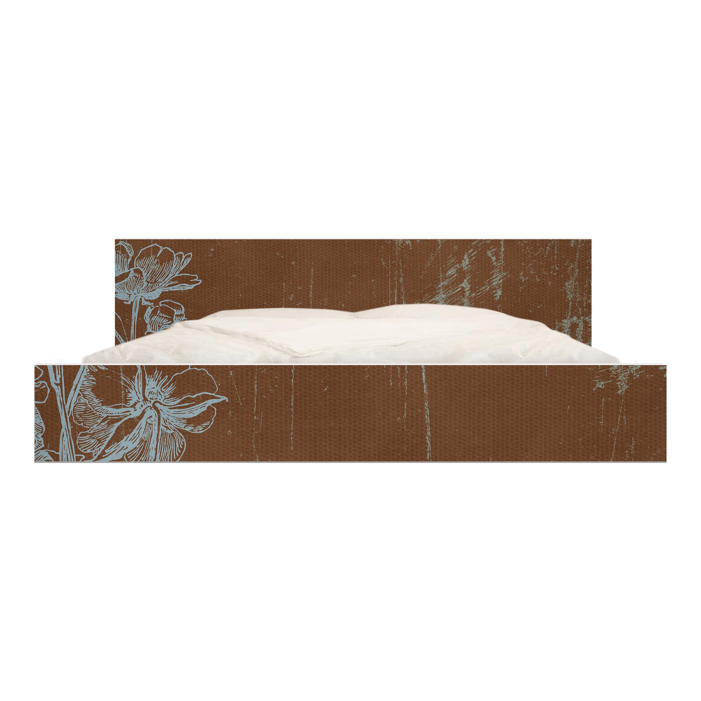 m belfolie f r ikea malm bett niedrig 180x200cm klebefolie blaue blumenskizze. Black Bedroom Furniture Sets. Home Design Ideas