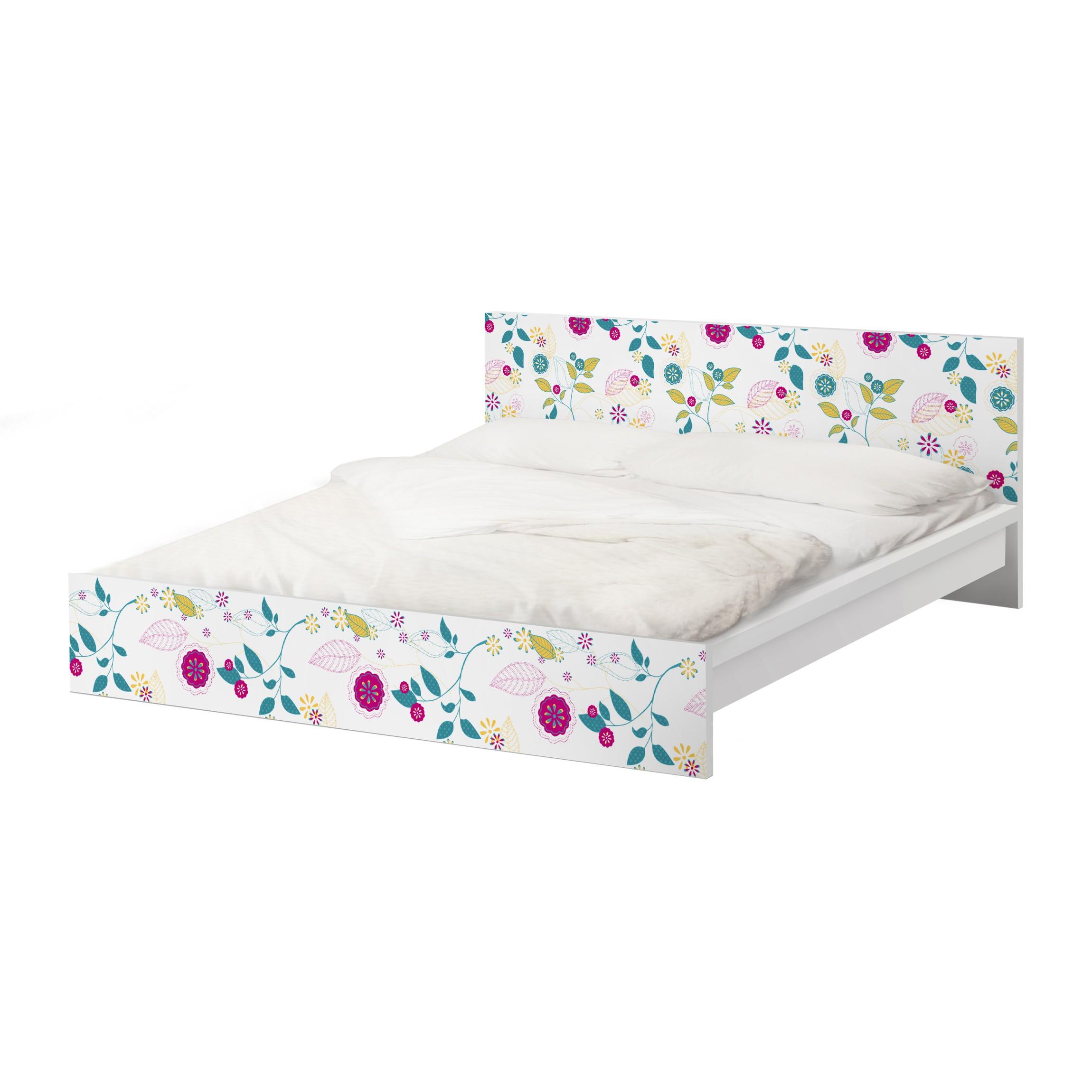 m belfolie f r ikea malm bett niedrig 180x200cm klebefolie blumencocktail. Black Bedroom Furniture Sets. Home Design Ideas