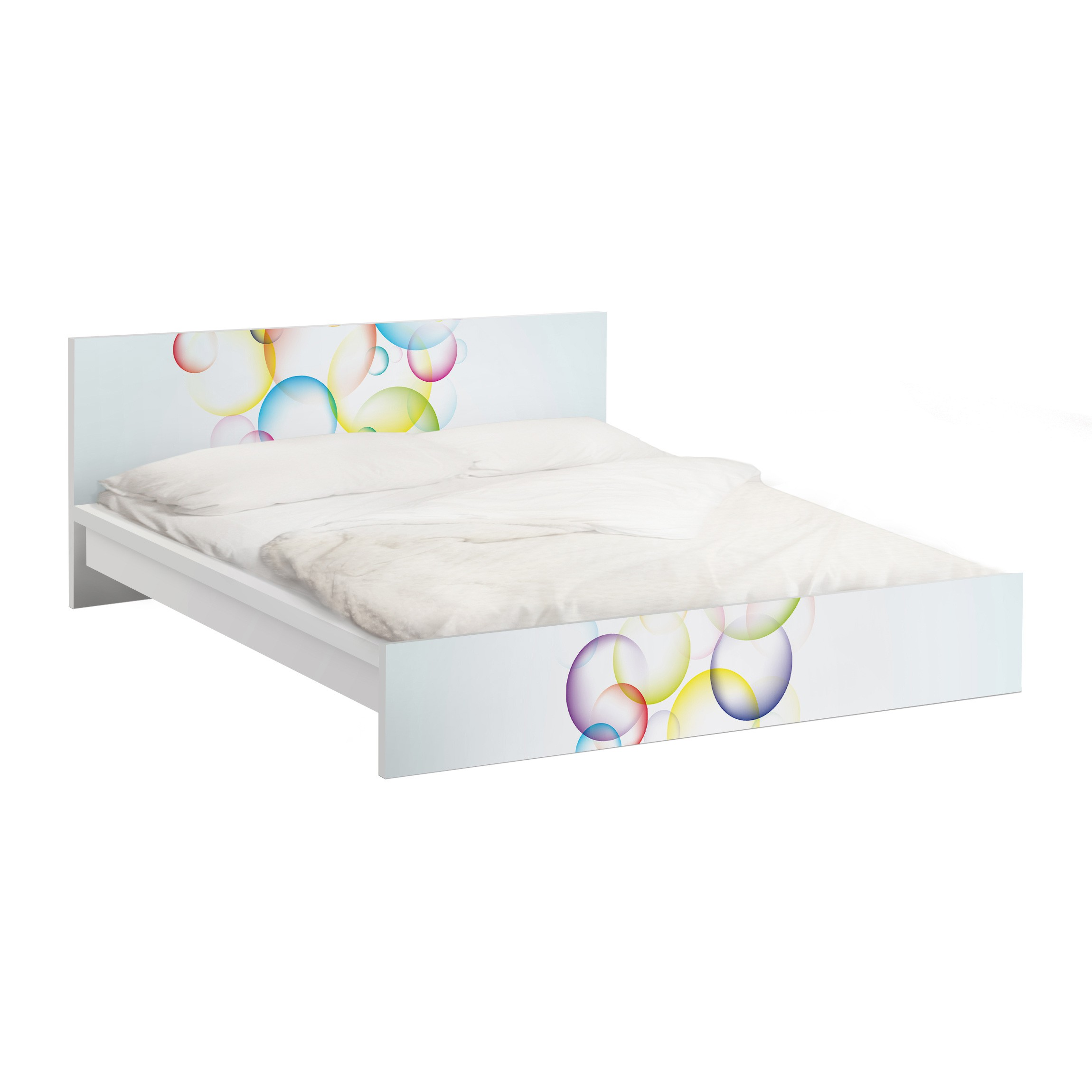 m belfolie f r ikea malm bett niedrig 180x200cm klebefolie rainbow bubbles. Black Bedroom Furniture Sets. Home Design Ideas