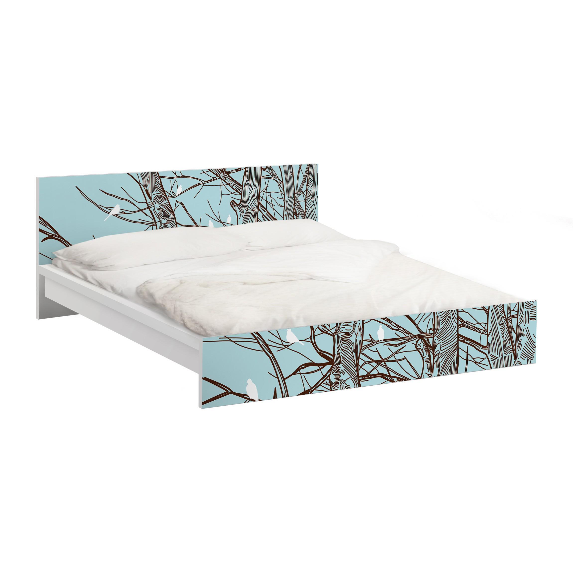 m belfolie f r ikea malm bett niedrig 180x200cm klebefolie winterb ume. Black Bedroom Furniture Sets. Home Design Ideas