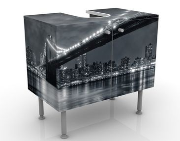 Produktfoto Waschbeckenunterschrank - Manhattan Mysteries - Badschrank Schwarz Grau
