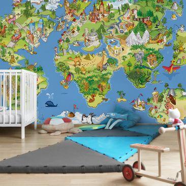 Produktfoto Fototapete Weltkarte - Great and funny Worldmap - Vliestapete Breit