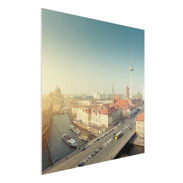 Produktfoto Forex Fine Art Print - Wandbild Berlin am Morgen - Quadrat 1:1