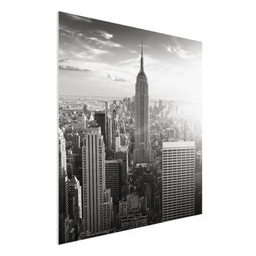 Produktfoto Forex Fine Art Print - Wandbild Manhattan Skyline - Quadrat 1:1
