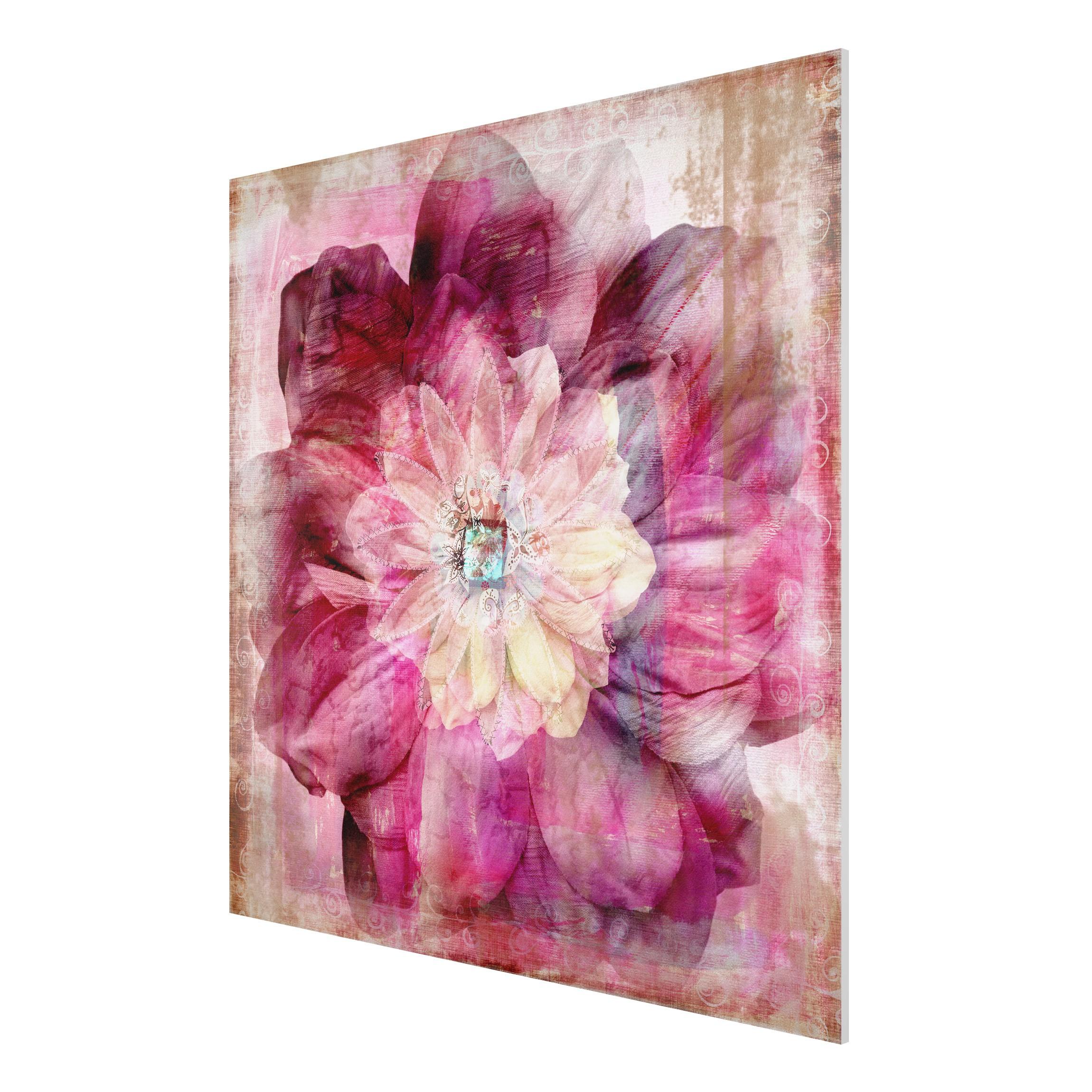 forex fine art print mural grunge flower square 1 1. Black Bedroom Furniture Sets. Home Design Ideas