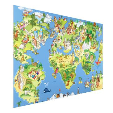 Produktfoto Forex Fine Art Print - Wandbild Great and funny Worldmap - Quer 2:3