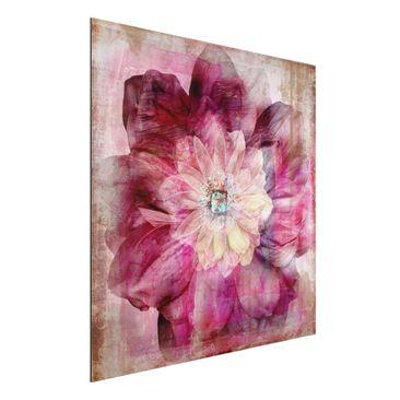 Produktfoto Aluminium Print - Wandbild Grunge Flower - Quadrat 1:1