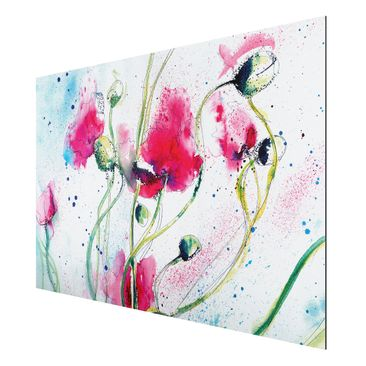Product picture Aluminium Print - Mural Painted Poppies...