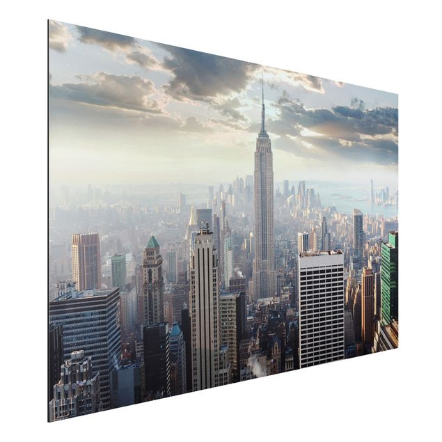 Produktfoto Aluminium Print - Wandbild Sonnenaufgang in New York - Quer 2:3