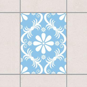 Produktfoto Fliesenaufkleber - Blumendesign Light Blue 20x15 cm - Fliesensticker Set Blau