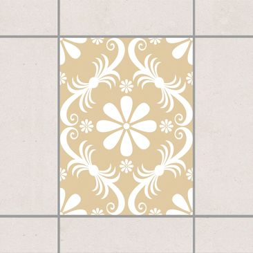 Produktfoto Fliesenaufkleber - Blumendesign Light Brown 20x15 cm - Fliesensticker Set Braun