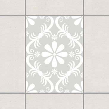 Produktfoto Fliesenaufkleber - Blumendesign Light Grey 20x15 cm - Fliesensticker Set Grau