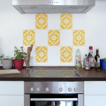 Product picture Tile Sticker - Floral Melon Yellow 20cm...