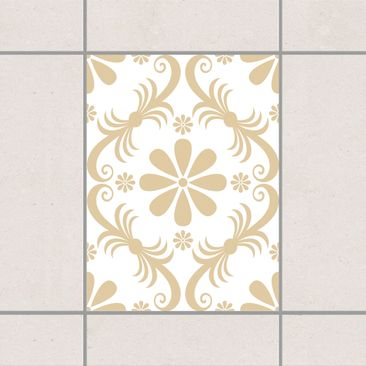 Produktfoto Fliesenaufkleber - Blumendesign White Light Brown 20x15 cm - Fliesensticker Set Braun