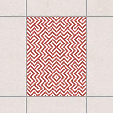 Produktfoto Fliesenaufkleber - Rotes Geometrisches Streifenmuster 20x15 cm - Fliesensticker Set