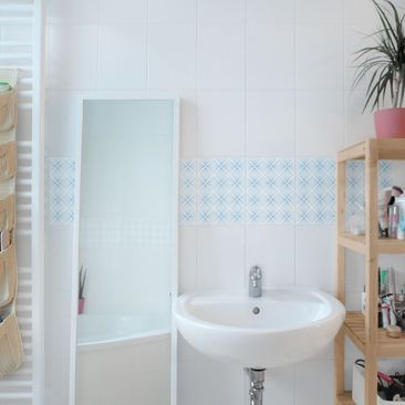 Product picture Tile Sticker - Tender Vintage Caro White...