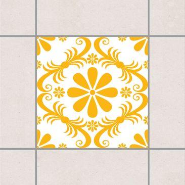 Produktfoto Fliesenaufkleber - Blumendesign White Melon Yellow 10x10 cm - Fliesensticker Set Gelb