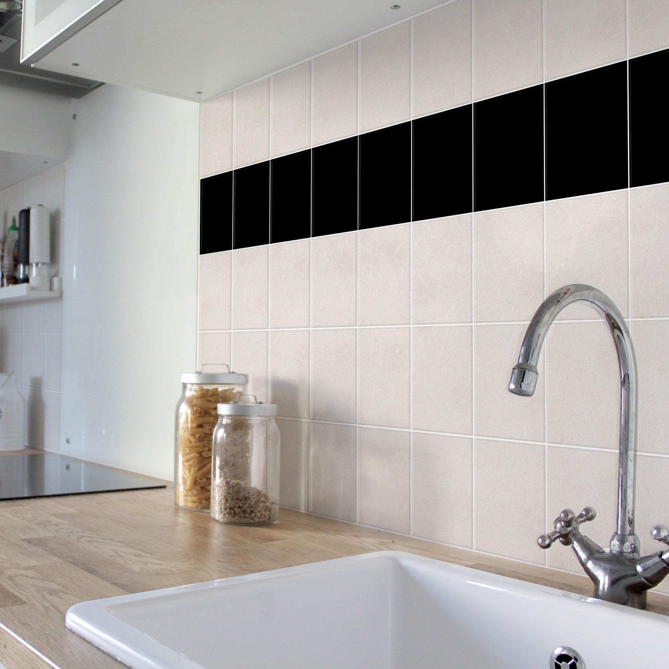 fliesenaufkleber bad k che schwarz 10x10 cm set. Black Bedroom Furniture Sets. Home Design Ideas