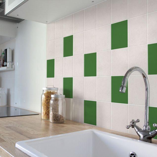 fliesenaufkleber bad k che colour dark green 10x10 cm set gr n. Black Bedroom Furniture Sets. Home Design Ideas