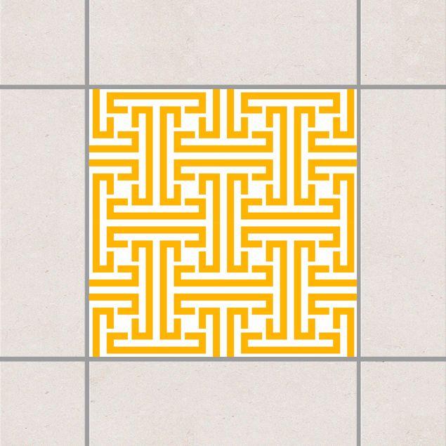 Produktfoto Fliesenaufkleber - Dekoratives Labyrinth Melon Yellow 10x10 cm - Fliesensticker Set Gelb
