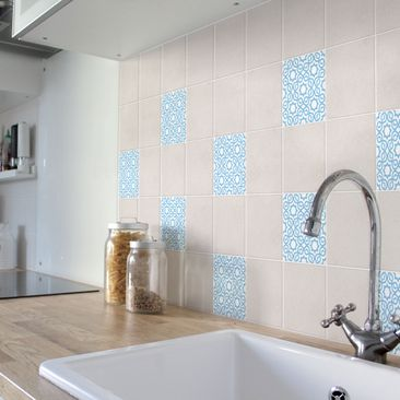 Product picture Tile Sticker - Islamic White Light Blue...