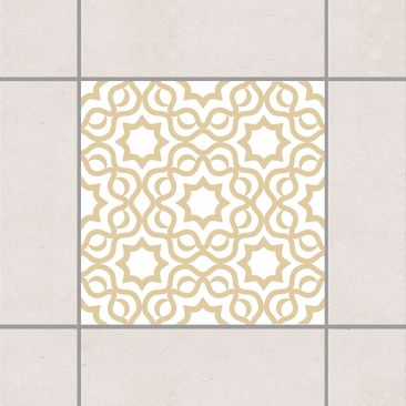 Produktfoto Fliesenaufkleber - Islamic White Light Brown 10x10 cm - Fliesensticker Set Braun