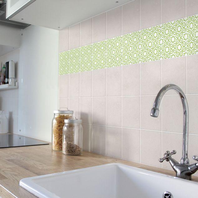 Produktfoto Fliesenaufkleber - Islamic White Spring Green 10x10 cm - Fliesensticker Set Grün