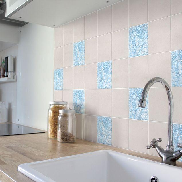 Produktfoto Fliesenaufkleber - Poseidons Garten Light Blue 10x10 cm - Fliesensticker Set