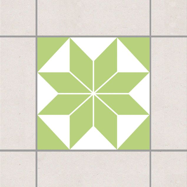 Produktfoto Fliesenaufkleber - Sternenmuster Spring Green 10x10 cm - Fliesensticker Set Grün