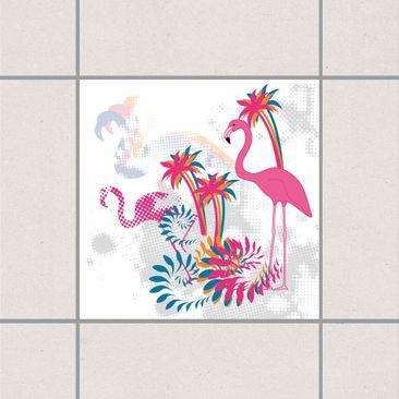Immagine del prodotto Adesivo per piastrelle - dance of the flamingos 10cm x 10cm