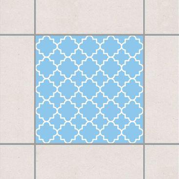 Produktfoto Fliesenaufkleber - Traditional Quatrefoil Light Blue 10x10 cm - Fliesensticker Set Blau