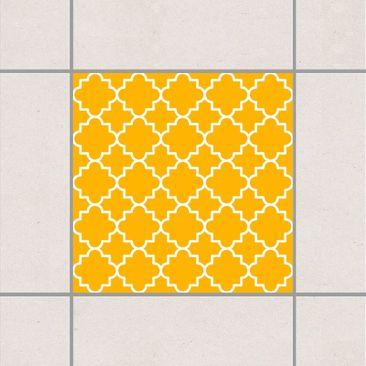 Produktfoto Fliesenaufkleber - Traditional Quatrefoil Melon Yellow 10x10 cm - Fliesensticker Set Gelb