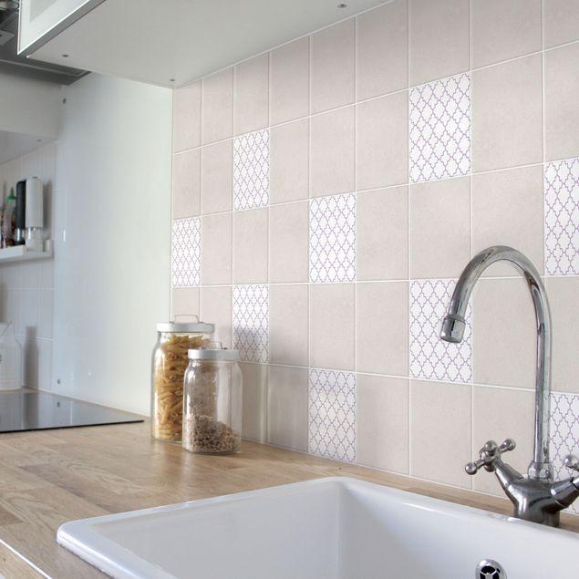 Produktfoto Fliesenaufkleber - Traditional Quatrefoil White Lavender 10x10 cm - Fliesensticker Set