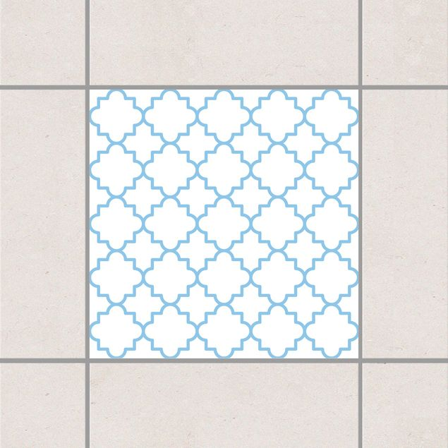 Produktfoto Fliesenaufkleber - Traditional Quatrefoil White Light Blue 10x10 cm - Fliesensticker Set