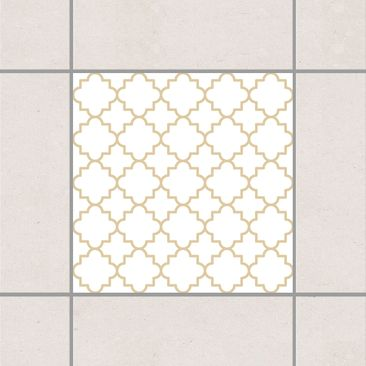 Produktfoto Fliesenaufkleber - Traditional Quatrefoil White Light Brown 10x10 cm - Fliesensticker Set