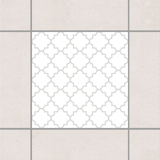 Produktfoto Fliesenaufkleber - Traditional Quatrefoil White Light Grey 10x10 cm - Fliesensticker Set