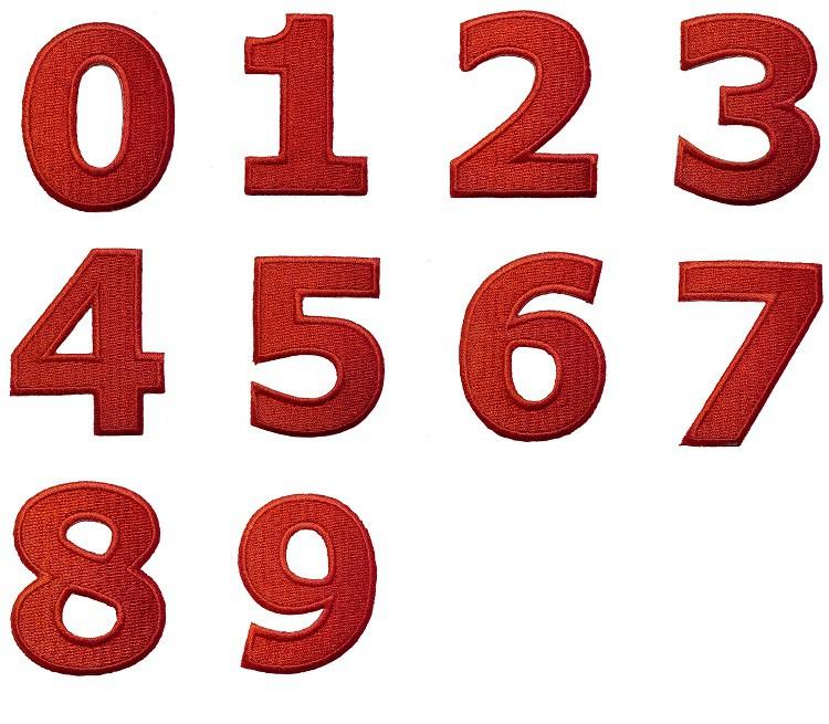 Aufnäher/Aufbügler - Zahl/Ziffer rot - Alle Zahlen einzeln auswählbar