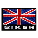 Aufnäher / Bügelbild - Biker UK England Flagge Fahne Great Britain - rot/blau - 7,4 x 4,8 cm - Patch Aufbügler Applikationen zum aufbügeln Applikation Patches Flicken
