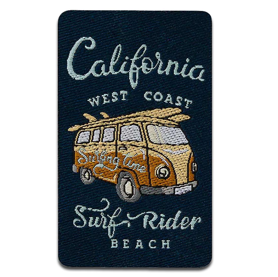Patch Toppa ricama Toppe termoadesive 4,5x6cm California Hippie Bus nero