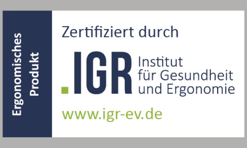Zertifiziert von iGR - Ergonomisches Produkt