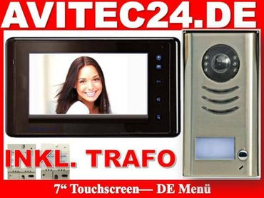 "VIDEO TÜRSPRECHANLAGE MIT 7"" TOUCHSCREEN MONITOR KOMPLETTSET"