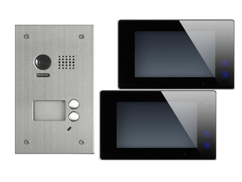 2 Draht Video Türsprechanlage 170° Kamera 1 Familienhaus Bilderspeicher schwarz