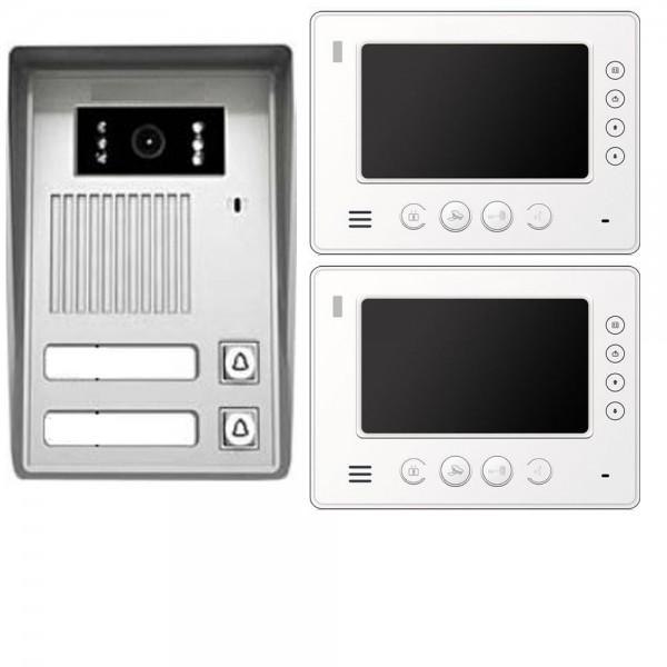 2 familienhaus video t rsprechanlage gegensprechanlage 2x monitor 7 zoll wei. Black Bedroom Furniture Sets. Home Design Ideas